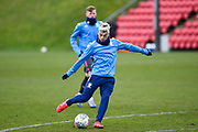 Ezgjian Alioski of Leeds United Under 23's warming up before the U23 Professional Development League match between Barnsley and Leeds United at Oakwell, Barnsley, England on 9 March 2020.