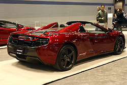 12 February 2015: McLaren 650S Spider.<br /> <br /> First staged in 1901, the Chicago Auto Show is the largest auto show in North America and has been held more times than any other auto exposition on the continent. The 2015 show marks the 107th edition of the Chicago Auto Show. It has been  presented by the Chicago Automobile Trade Association (CATA) since 1935.  It is held at McCormick Place, Chicago Illinois