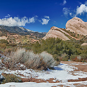 Mormon Rocks -  West View After Snow Dusting - HDR