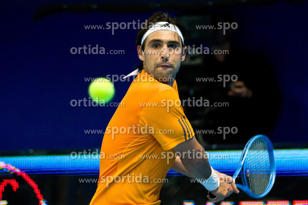 19.10.2012, Kungliga Tennis Halle, Stockholm, SWE, ATP, Stockholm Open, im Bild Ricardas Berankis (LTU) vs Marcos Baghdatis (CYP)) : Marcos here on a backhand, // during the ATP Stockholm Open at the Kungliga Tennis Halls, Stockholm, Sweden on 2012/10/19. EXPA Pictures © 2012, PhotoCredit: EXPA/ PicAgency Skycam/ ATTENTION - OUT OF SWE *****