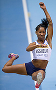 Eloyse Lesueur of France competes in women's long jump qualification during the IAAF Athletics World Indoor Championships 2014 at Ergo Arena Hall in Sopot, Poland.<br /> <br /> Poland, Sopot, March 8, 2014.<br /> <br /> Picture also available in RAW (NEF) or TIFF format on special request.<br /> <br /> For editorial use only. Any commercial or promotional use requires permission.<br /> <br /> Mandatory credit:<br /> Photo by &copy; Adam Nurkiewicz / Mediasport