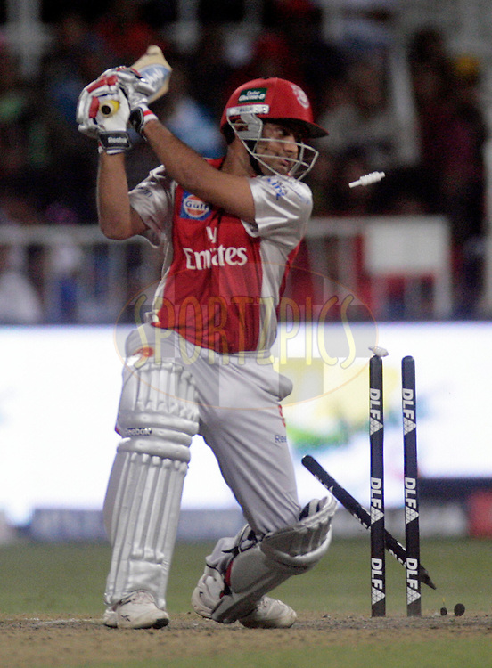 DURBAN, SOUTH AFRICA - 1 May 2009. Piyush Chawla is bowled during the IPL Season 2 match between Kings X1 Punjab and the Royal Challengers Bangalore held at Sahara Stadium Kingsmead, Durban, South Africa.