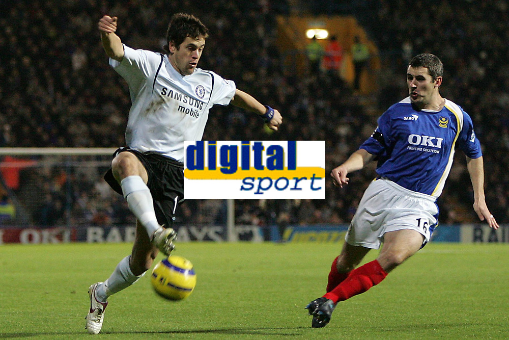 Photo: Lee Earle.<br /> Portsmouth v Chelsea. The Barclays Premiership.<br /> 26/11/2005. Chelsea's Joe Cole controls the ball as Andy Griffin closes in.