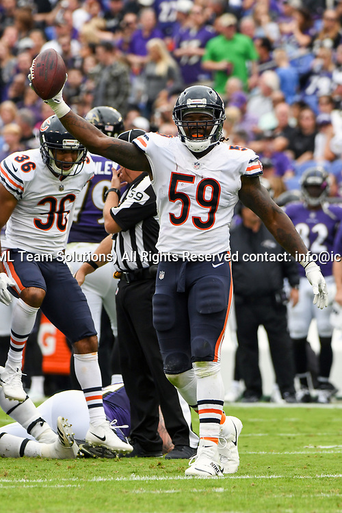 BALTIMORE, MD - OCTOBER 15: Chicago Bears inside linebacker Danny Trevathan (59) celebrates his second quarter fumble recovery against the Baltimore Ravens on October 15, 2017, at M&T Bank Stadium in Baltimore, MD.  (Photo by Mark Goldman/Icon Sportswire)