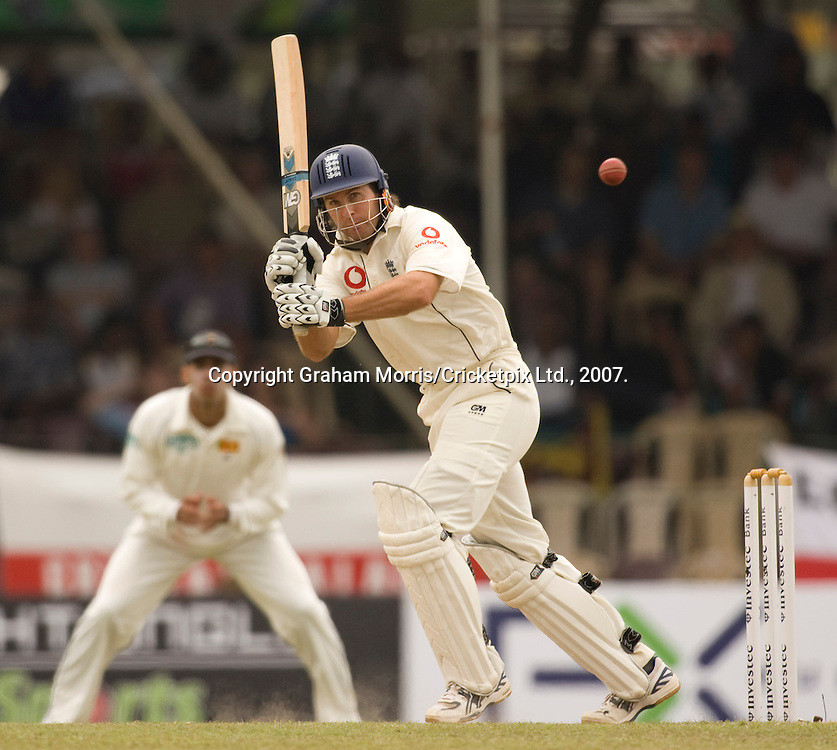 Michael Vaughan hits Dilhara Fernando for four during the first Test Match between Sri Lanka and England at the Asgiriya Stadium, Kandy. Photograph © Graham Morris/cricketpix.com (Tel: +44 (0)20 8969 4192; Email: sales@cricketpix.com)
