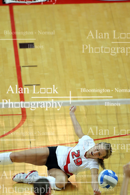 25 AUG 2007: Mallory Leggett goes to the planks for a save. By a score of 3 games to 1,  Illinois State University Redbirds defeated the Redhawks of Miami of Ohio at Redbird Arena on the campus of Illinois State University in Normal Illinois.