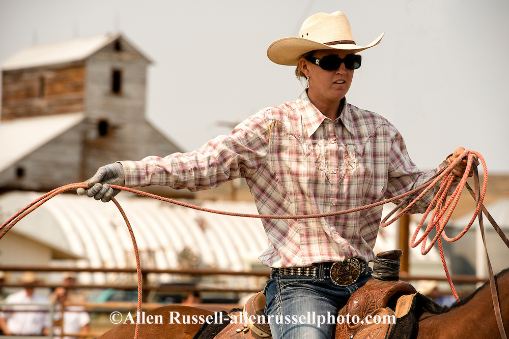 Wilsall Ranch Rodeo, Calf Branding Competition, cowgirl, Milee Malone, Knock'em Flat Cattle Co team, Montana