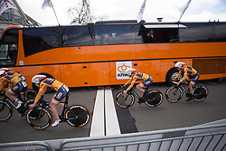 Boels-Dolmans Cycling Team riders cross the finish line of Stage 2 of the Healthy Ageing Tour - a 19.6 km team time trial, starting and finishing in Baflo on April 6, 2017, in Groeningen, Netherlands.
