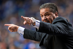 Kentucky head coach John Calipari directs his team in the first half.<br /> <br /> The University of Kentucky hosted the University of Georgia, Tuesday, Feb. 09, 2016 at Rupp Arena in Lexington .