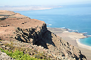 Steep coastal cliffs Risco de Famara looking south from the Mirador el Rio, Lanzarote, Canary Islands, Spain