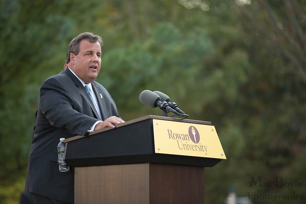 NJ Governor Chris Christie speaks at the Rowan Hall Expansion Groundbreaking at Rowan University  in Glassboro, NJ on Wednesday October 2, 2013. (photo / Mat Boyle)