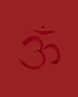 Sanscrit sacred symbol Om or Aum in Yoga, spiritual icon design in deep red colors. Artistic Japanese Zen illustration.