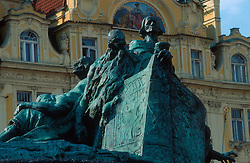 CZECH REPUBLIC BOHEMIA PRAGUE JUL97 - Monument of Jan Hus on Prague's Old Town Square.. . jre/Photo by Jiri Rezac. . © Jiri Rezac 1997. . Contact: +44 (0) 7050 110 417. Mobile:  +44 (0) 7801 337 683. Office:  +44 (0) 20 8968 9635. . Email:   jiri@jirirezac.com. Web:     www.jirirezac.com
