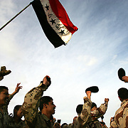 1 Feb 2005.Ramadi, Iraq.Iraq Forces Award ceremony...In 'Camp Ramadi', Iraq on 1 Feb 2005 members of Iraqs new Army celebrate after being awarded ceremonial coins in recognition of their providing security at polling stations over the election period.