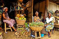 Nigeria - Market women selling herbs, vegetables, and fruit ar Jankara Market