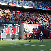 03 September 2016: The San Diego State Aztecs football team open's up the season at home against the University of New Hampshire Wildcats. Wide receiver Mikah Holder (6) scores on an 86 yard touchdown reception in the first quarter. www.sdsuaztecphotos.com