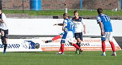 Cowdenbeath's Greg Stewart (hidden behind Cowdenbeath's 7 Marc McKenzie) scoring their goal.<br /> Cowdenbeath 1 v 0 Falkirk, 14/9/2013.<br /> &copy;Michael Schofield.