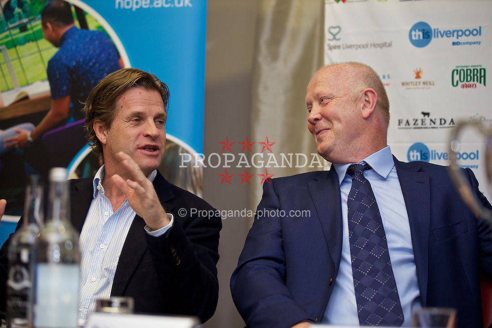 LIVERPOOL, ENGLAND - Monday, April 18, 2016: Tournament Director Anders Borg and Former England and Liverpool captain and Tennis Ambassador Mark Wright during the launch of the 2016 Liverpool Hope University International Tennis Tournament at the Hilton Hotel. (Pic by David Rawcliffe/Propaganda)