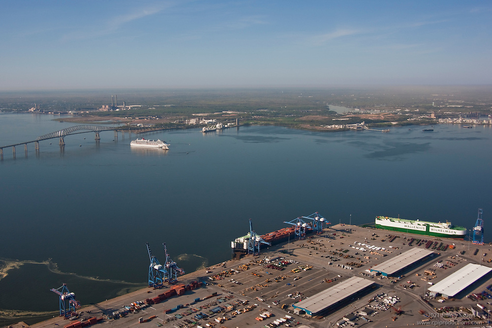 Aerial Image of Carnival Cruise Ship at the Key Bridge withh Dundalk MarineTerminal in foreground