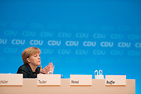 09 DEC 2014, KOELN/GERMANY:<br /> Angela Merkel, CDU, Bundeskanzlerin, applaudiert, CDU Bundesparteitag, Messe Koeln<br /> IMAGE: 20141209-01-141<br /> KEYWORDS: Party Congress, Applaus, klatschen