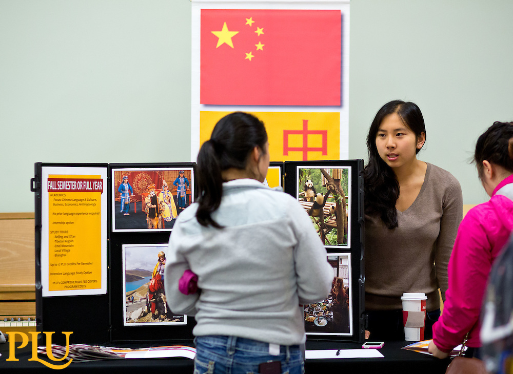 Wang Center's Study Away Fair in the Regency Room, Anderson University Center at PLU on Wednesday, Sept. 24, 2014. (Photo/John Froschauer)