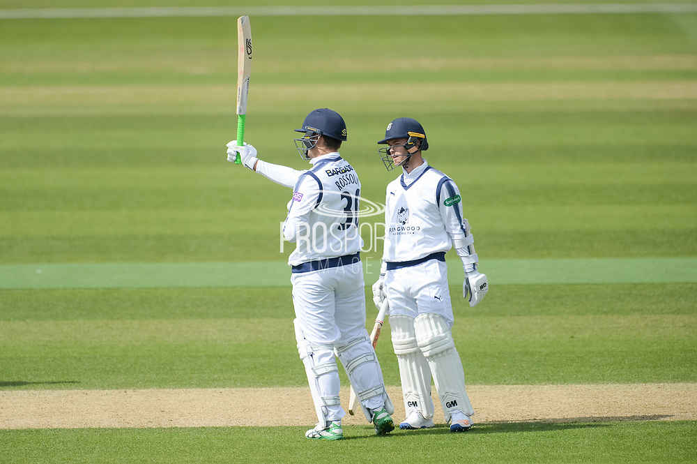 Rilee Rossouw of Hampshire reaches his half century during the Specsavers County Champ Div 1 match between Hampshire County Cricket Club and Middlesex County Cricket Club at the Ageas Bowl, Southampton, United Kingdom on 16 April 2017. Photo by David Vokes.