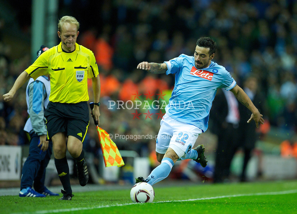 LIVERPOOL, ENGLAND - Thursday, November 4, 2010: SSC Napoli's Ezequiel Lavezzi in action against Liverpool during the UEFA Europa League Group K Matchday 4 match at Anfield. (Photo by David Rawcliffe/Propaganda)