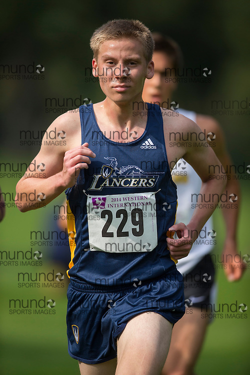 Matt Hall of the Windsor Lancers runs at the 2014 Western International Cross country meet in London Ontario, Saturday,  September 20, 2014.<br /> Mundo Sport Images/ Geoff Robins