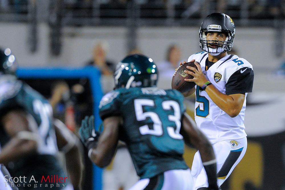 Jacksonville Jaguars quarterback Matt Scott (5) during a preseason NFL game against the Philadelphia Eagles at EverBank Field on Aug. 24, 2013 in Jacksonville, Florida. The Eagles won 31-24.<br /> <br /> &copy;2013 Scott A. Miller
