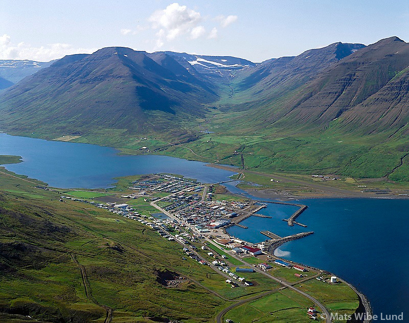 Ólafsfjörður séð til austurs, Brímnes fremst. Flugvöllur nú lokaður! 1994.   /   Olafsfjordur viewing east, Brimnes in front.  ( This place has now joined in Fjallabyggð  i.e. the icelandic version and Fjallabyggd in english.)
