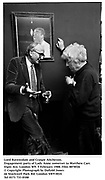 Lord Ravensdale and Craigie Aitcheson. Engagement party of Lady Anne Somerset to Matthew Carr. Elgin Ave, London W9. 5 February 1988. Film 8878f26<br />