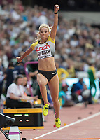 Athletics - 2017 IAAF London World Athletics Championships - Day Two (AM Session)<br /> <br /> Event: Triple Jump Women - Qualification<br /> <br /> Kristin Gierisch (GER) leaps between  phases <br /> <br /> COLORSPORT/DANIEL BEARHAM