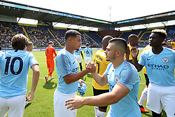 (L-R) Joel Latibeaudiere EDS Team Manchester City, Benjamin Garre of EDS Team Manchester City during the Pre-season Friendly match between NAC Breda and EDS Team Manchester City at Rat Verlegh stadium on August 04, 2018 in Breda, The Netherlands