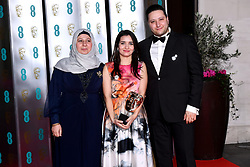 Waad al-Kateab with her Best Documentary Bafta Award For Sama attending the after show party for the 73rd British Academy Film Awards.
