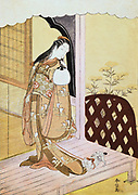 The Princess Nyosan', c1765. The princess looks down at the cat playing with the hem of her robe. In 'The Book of Genji', Eleventh century classic of Japanese literature, Nyosan is the second principal wife of Genji, son of the Japanese Emperor. Japanese coloured woodblock print.  Suzuki Harunobu (1725-1770) Japanese artist and printmaker, the first to produce full colour prints.