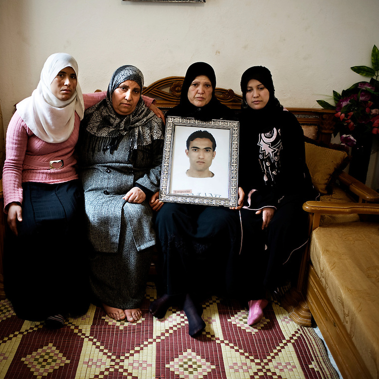 """Rebeh Nwiwi, Semia, Awatef and Essya are the mother and the sisters of Aymen Akili that he was killed by the police at the metro station """"Le Passage"""" last January. """"My son went out of the house at 3.30 pm to go to the city centre to buy shoes with some of his friends. That day there was a demonstration taking place at Bourguiba's avenue but he didn't went there. At 6.30 pm he was stopped by policemen at Place de la Republique near Le passage. He was beaten up and  someone shot him to the groin. According to his friends, he was still alive when he arrived to the hospital. During these days five young men arrived dead.to the hospital and none of them took part in demonstrations""""."""
