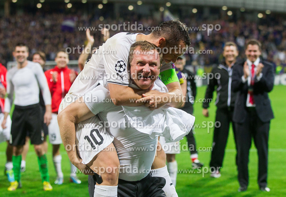 Pavel Vrba, head coach of Plzen and Pavel Horvath of Plzen celebrate after winning and Qualifying to Champions League during Second Leg football match between NK Maribor (SLO) and FC Viktoria Plzen (CZE) of UEFA Champions League 2013/14 Play-Offs on August 28, 2013 in Stadium Ljudski vrt, Maribor, Slovenia. (Photo by Vid Ponikvar / Sportida.com)