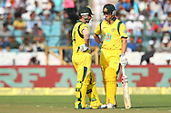 Phillip Hughes of Australia and George Bailey of Australia  during the 2nd One Day International (ODI) match in the Star Sports Series between India and Australia held at the Sawai Mansingh Stadium in Jaipur on the 16th October 2013<br /> <br /> Photo by Ron Gaunt-BCCI-SPORTZPICS<br /> <br /> Use of this image is subject to the terms and conditions as outlined by the BCCI. These terms can be found by following this link:<br /> <br /> http://sportzpics.photoshelter.com/gallery/BCCI-Image-terms-and-conditions/G00004IIt7eWyCv4/C0000ubZaQCkIRgQ