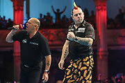Peter Wright hits a double and celebrates during the BetVictor World Matchplay Darts 2018 semi final at Winter Gardens, Blackpool, United Kingdom on 28 July 2018. Picture by Shane Healey.