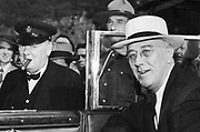Franklin Delano Roosevelt (1882-1945) 32nd President of the USA (right) and Winston Churchill (1874-1965) British Prime Minister, meeting in Quebec in 1944.