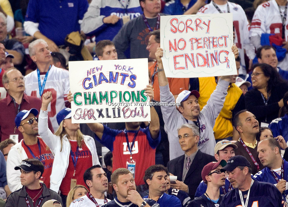 New England Patriots against New York Giants FANS during Super Bowl XLII  on Feb. 3, 2008 in Glendale, AZ.