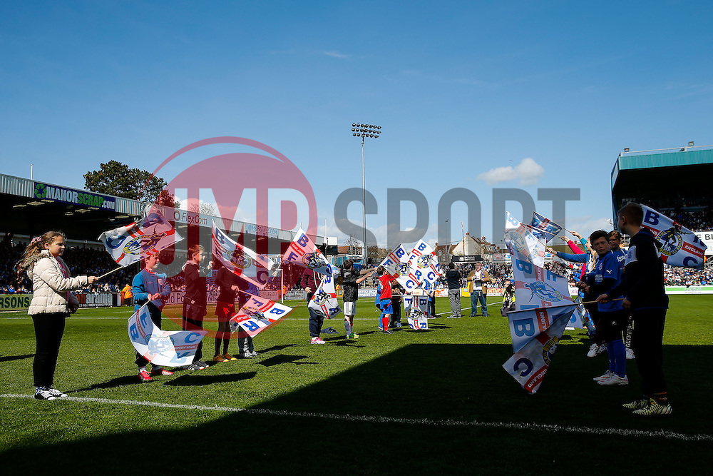 Flagbearers - Photo mandatory by-line: Rogan Thomson/JMP - 07966 386802 - 11/04/2015 - SPORT - FOOTBALL - Bristol, England - Memorial Stadium - Bristol Rovers v Southport - Vanarama Conference Premier.
