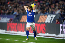 BOLTON, ENGLAND - Saturday, January 26, 2013: Everton's Leighton Baines takes a throw-in against Bolton Wanderers during the FA Cup 4th Round match at the Reebok Stadium. (Pic by David Rawcliffe/Propaganda)