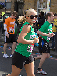 Virgin London Marathon 2013..Celebrity runners. Soprano singer Katherine Jenkins at the 21 mile marker, April 21, 2013. Photo by: Gavin Rodgers / i-Images