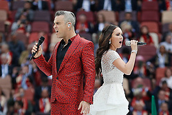 June 14, 2018 - Moscow, Russia - ROBBIE WILLIAMS and AIDA GARIFULLINA perform during Opening ceremony of the 2018 World Cup held at the Lujniki Stadium in Moscow. (Credit Image: © Marcelo Machado De Melo/Fotoarena via ZUMA Press)