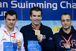 Christian GALENDA of Italy (2nd place), Winner Peter Mankoc of Slovenia  (9th times European Champion) and James GODDARDof Great Britain at medal ceremony at Men`s 100m Individual Medley at day 4 of LEN European Short Course Swimming Championships Rijeka 2008, on December 14, 2008,  in Kantrida pool, Rijeka, Croatia. (Photo by Vid Ponikvar / Sportida)