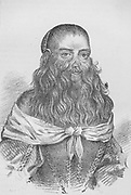 Barbara Urslerin, The Hairy Faced Woman, born in Germany in 1629 and exhibited as circus attraction.  Suffered from Hypertrichosis (Ambras Syndrome). Lithograph published London 1815.