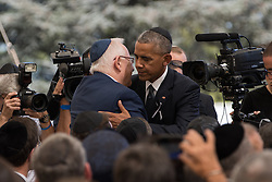 JERUSALEM, Sept. 30, 2016 (Xinhua) -- U.S. President Barack Obama (R) hugs Israeli President Reuven Rivlin after delivering a eulogy during the funeral of Israel's former president Shimon Peres at Mount Herzl cemetery in Jerusalem, Sept. 30, 2016. (Xinhua/Guo yu) (lrz) (Credit Image: © Guo Yu/Xinhua via ZUMA Wire)