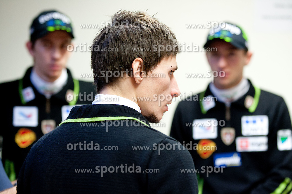 Robert Kranjec at press conference of Slovenian Nordic Ski Jumping team after they placed third in team competition at World Cup in Harrachov (CZE), on December 13, 2011 in SZS, Ljubljana, Slovenia. (Photo By Vid Ponikvar / Sportida.com)