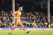 Blackburn Rovers goalkeeper Jason Steele (1) celebrate Blackburn Rovers last sec equaliser during the EFL Sky Bet Championship match between Fulham and Blackburn Rovers at Craven Cottage, London, England on 14 March 2017. Photo by Sebastian Frej.